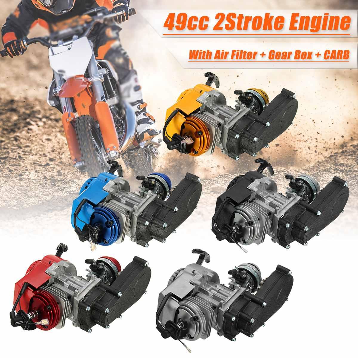 2 temps moteur moteur avec Transmission carburateur filtre à air boîte de vitesses 49CC Mini Dirt Bike ATV Quad bleu jaune noir rouge argent