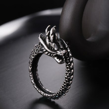 1Pc Ancient Silver Color Opening Dragon Ring New Fashion Adjustable 925 Sterling Luminous Glow In the Dark Unisex Gift Jewelry(China)