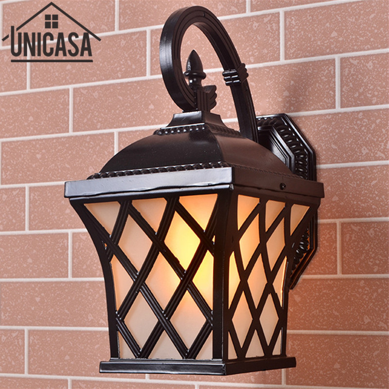 Antique  Black Aluminum Outdoor Wall Lights Garden Pathway Vintage Bar Sconce Industrial Ceiling Lamps Led Lighting Lamp EU free shipping vintage wall lamps garden lighting terrace wall sconce outdoor wall lights mediterranean bedroom wall lamp