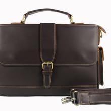 Vintage Crazy Horse genuine leather Briefcase Men Business Bag Real Leather Shoulder bag for men office bag Crossbody Bag M017#