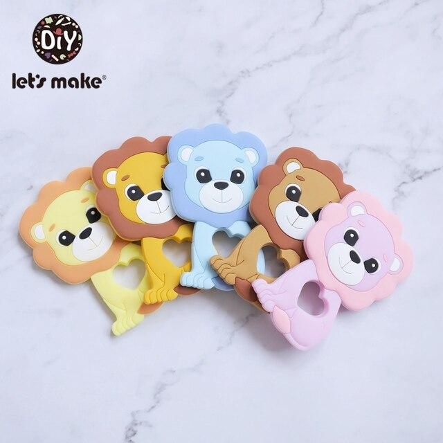 Vamos fazer 20pc bebê silicone mordedor bpa livre silicone para chupeta corrente dos desenhos animados leão bebê colar acessórios do bebê teeher