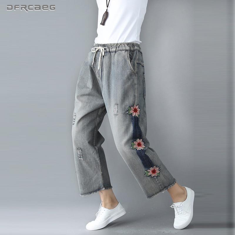 Vintage Plus Size Boyfriend Woman   Jeans   2018 Autumn Elastic Waist Loose Casual Streetwear Embroidery Denim Pants   Jean   Femme