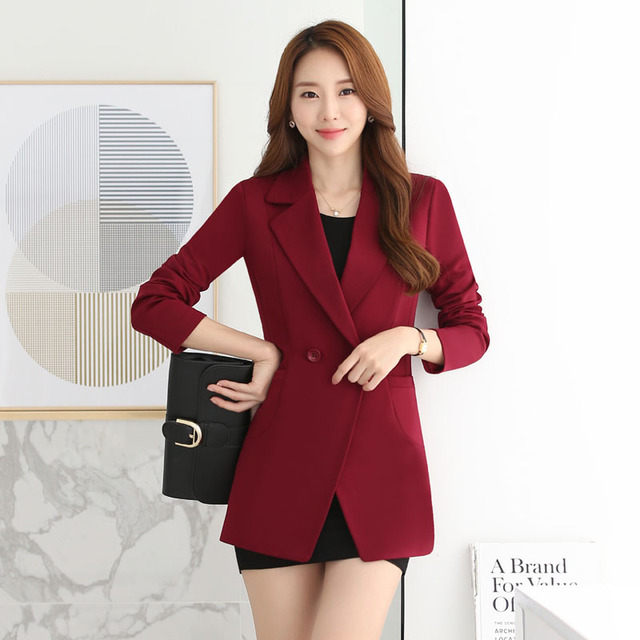 Long Sleeve Formal OL Styles Blazer Coat Slim Fashion Mid-Long Female Jackets Outwear Professional Blazers Ladies Tops Wine