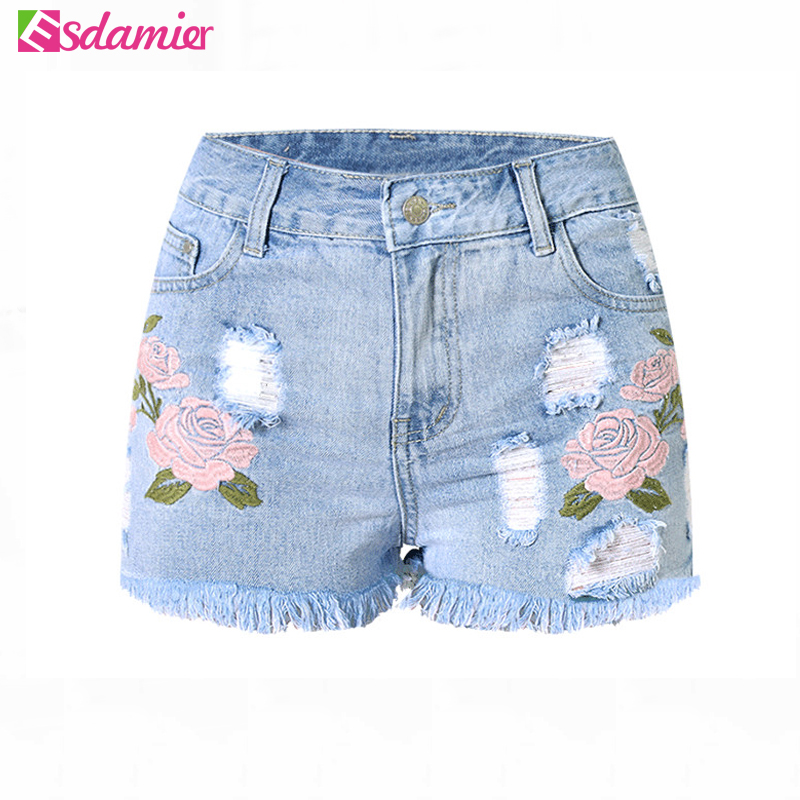 2017 Fashion Embroidery Denim Shorts Floral High Waist Jeans Short Femme Frayed Hole Shorts For Women Plus Size Summer Shorts