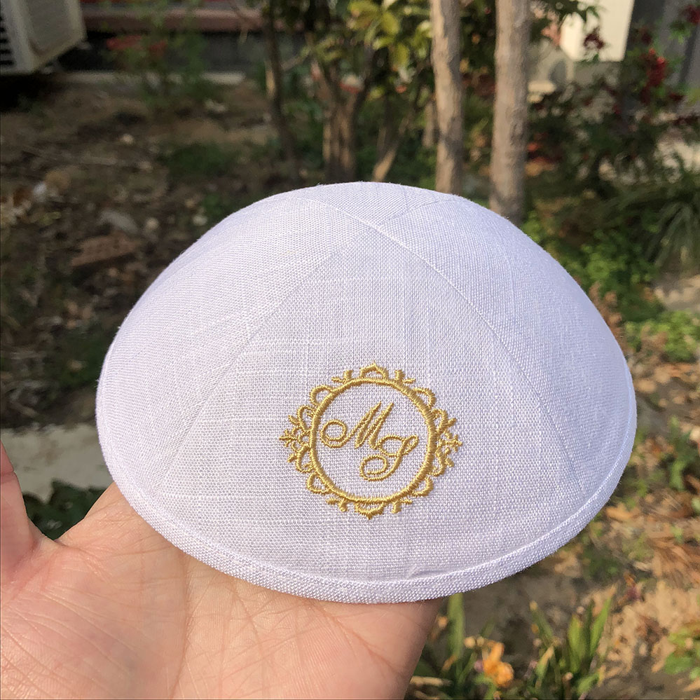 296d0353e62 linen jewish wedding kippot