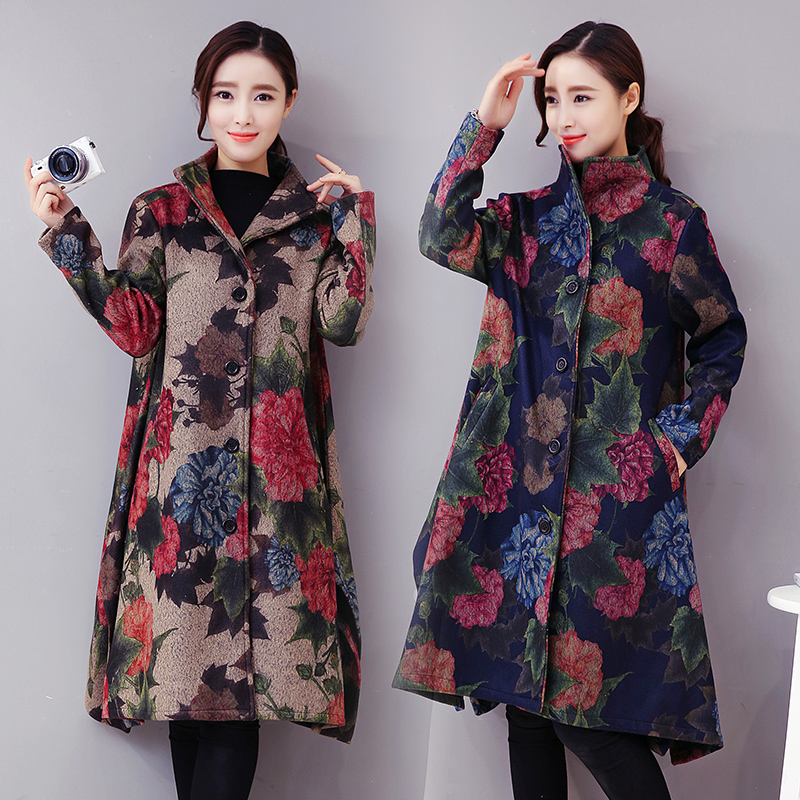 2018 Autumn Winter Female Folk Wind Printed Flowers Cloak Wool Coat Big Yards Long Vintage Coats