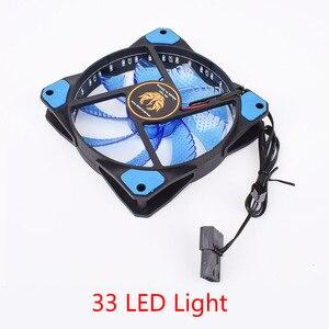 Ультра тихий вентилятор для ПК с 33 светодиодами, 120 мм, чехол для компьютера, радиатор радиатора, 16 дБ, с антивибрационным резиновым вентилятором, 9 лезвий