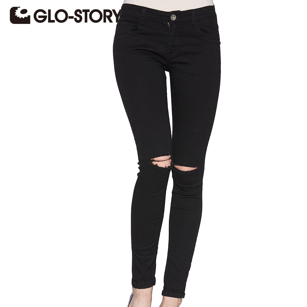 GLO-STORY Women hole Ripped Skinng Jeans 2018 High Waist Elastic Ladies Fashion American Style Skinny Pencil Denim Pants 3295