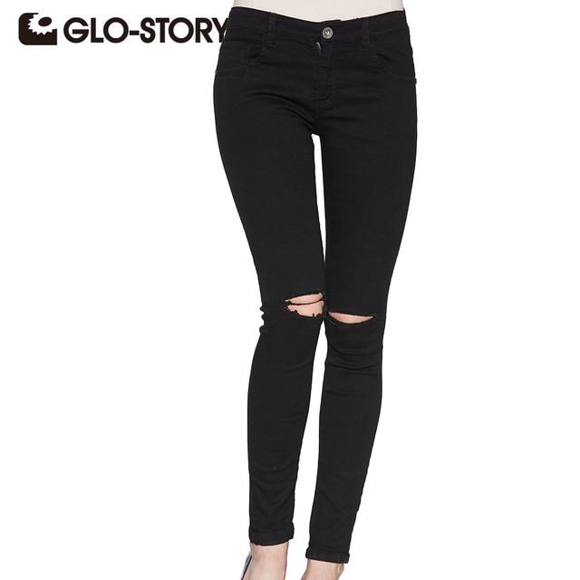 GLO-STORY Women hole Ripped Skinng Jeans 2018 High Waist Elastic Ladies Fashion American Style Skinny Pencil Denim Pants 3295