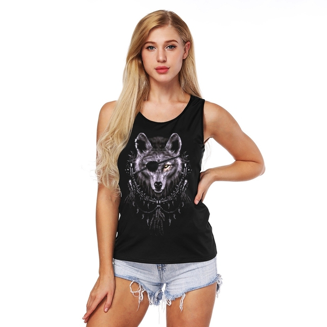 fb8412df7d70 6 Style Polyester/Spandex 3d Wolf Print 3D Tank Top Women Summer Hollow Out Black  Slim Tank Vest Harajuku Casual Fitness Tops