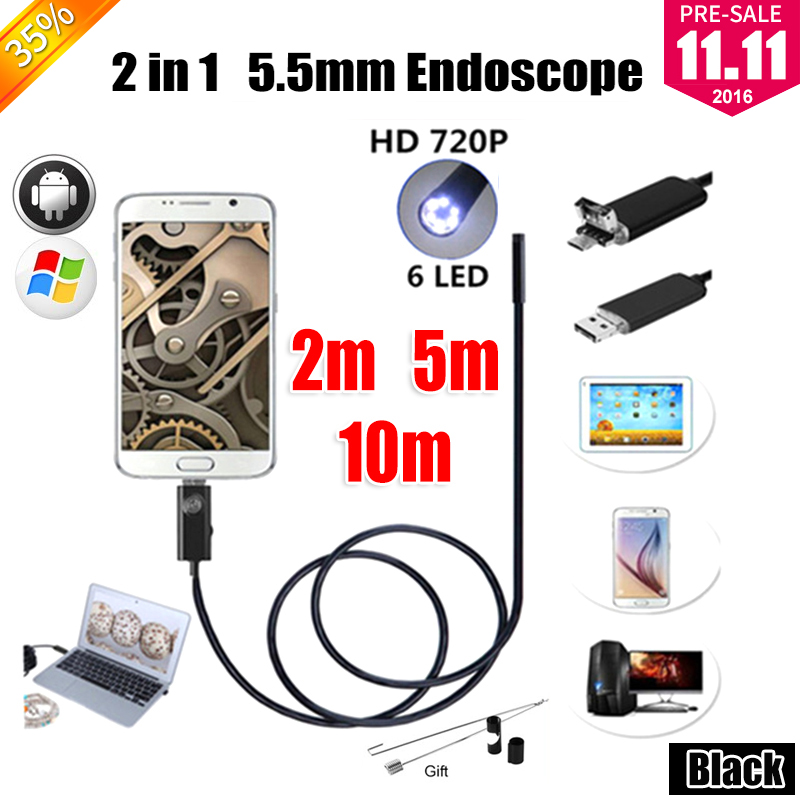 Antscope 5.5mm endoscope 2IN1 USB Endoscope Android Camera 2M/5M/10M Snake Tube Inspection USB Endoskop Waterproof Borescope antscope wholesale 7mm lens mini usb android endoscope camera waterproof snake tube 2m inspection usb borescope endoskop camera