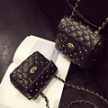 Free shipping, 2016 new women handbags, fashion rivets flap, Korean version shoulder bag, diamond lattice woman messenger bag.