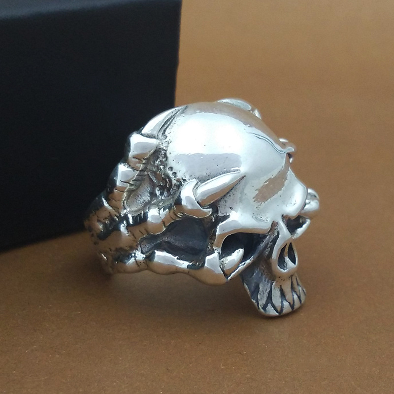 S925 Sterling Silver Ornaments Handcrafted Retro Thai Silver Personal Ring Men Skulls Skeleton Fashion Ring