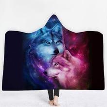 18 Styles Wolf Husky 3D Printed Plush Hooded Blanket for sofa Warm Wearable Soft Fleece Throw Blankets