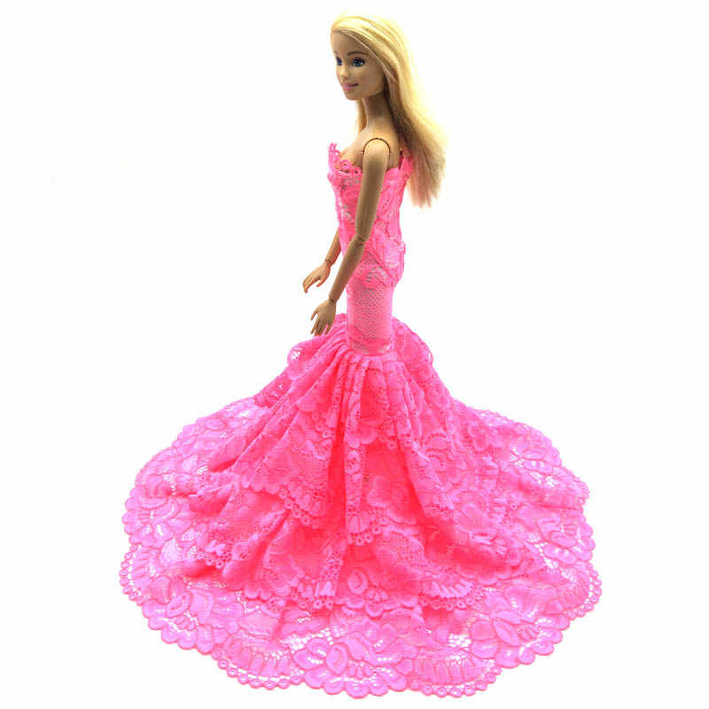 Vestido de muñeca de encaje rosa para mujer, elegante vestido para muñeca Barbie, vestidos de sirena BJD, juguete de regalo, 1/6