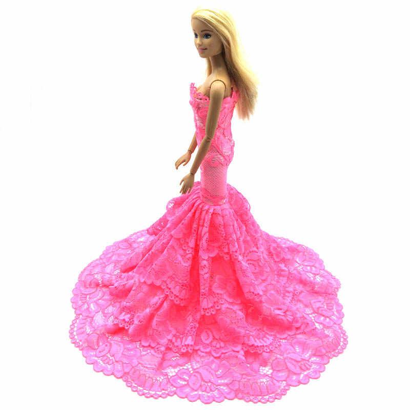 Vestido rosa de encaje para muñeca, vestido elegante con cola de pez para muñeca Barbie para 1/6, vestidos de sirena BJD, juguete de regalo