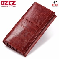 GZCZ Wallet Female Fashion Women Genuine Leather Wallets Coin Purse Long Women's Purses Cell Phone Pocket Money Bag Portomonee