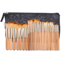 25 Pcs Makeup Brush Rose Tube Brown Hair Set Facial Mask Foundation Cosmetic Eyeshadow Eyebrow Make
