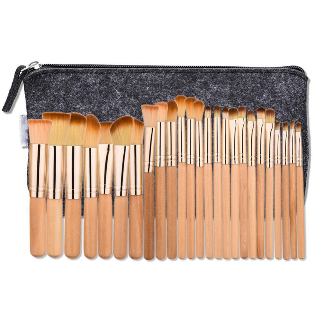 25pcs Makeup Brush Rose tube brown hair Set Facial Mask Foundation Cosmetic Eyeshadow Eyebrow Make Up Brush Kit +makeup bag 12pcs makeup brush set wood handle facial mask foundation brushes cosmetic eyeshadow eyebrow make up brush kit makeup bag