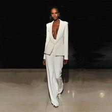 цена Jacket+Pants Ivory Women Business Suits Blazer Female Office Uniform 2 Piece Set Ladies Winter Formal Trouser Suit Womens Tuxedo в интернет-магазинах