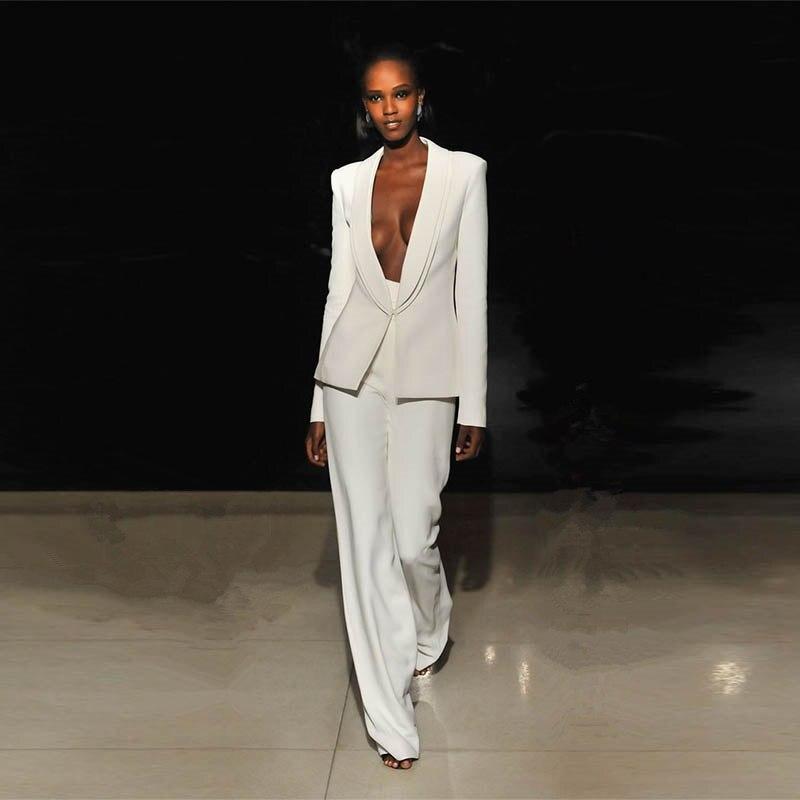 Veste + pantalon ivoire femmes d'affaires costumes Blazer femme bureau uniforme 2 pièce ensemble dames hiver formel pantalon costume femmes smoking