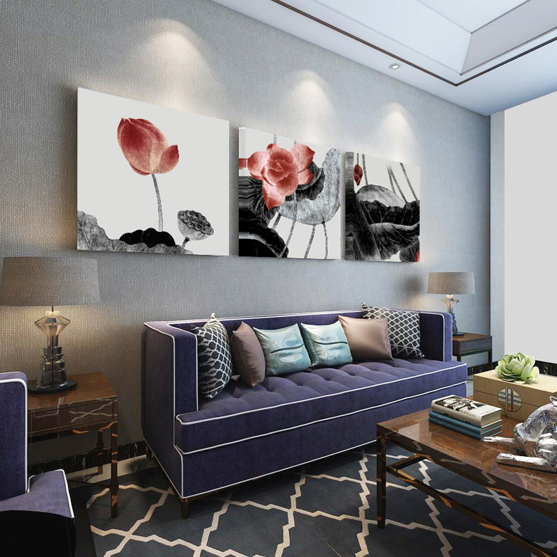 3 πάνελ τοίχων Εικόνες λουλουδιών - Διακόσμηση σπιτιού - Φωτογραφία 2