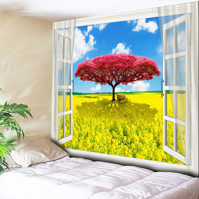 2018 New Blue Sky Red Tree Garden Painting Landscape Tapestry Wall Hanging  Tree Hippie Tapestry Blue