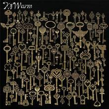KiWarm śliczne 130 sztuk Antique Vintage stary wygląd brązowy ozdobny szkielet klucze Lot naszyjnik wisiorek fantazyjne wystrój serca DIY rękodzieło na prezenty