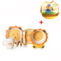 6pcs/set children plate baby bamboo fiber tableware set Animal shape bamboo fiber plate Tableware with waterproof bibs