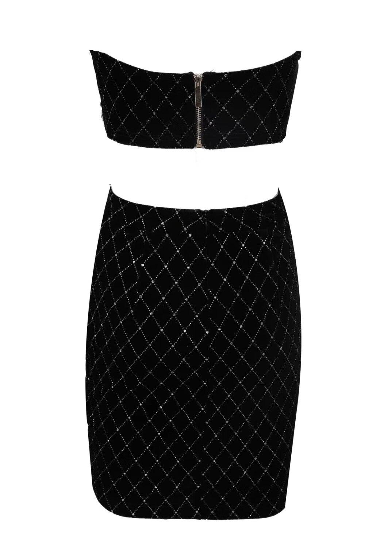 Perles Deux Celebrity Sans Bretelles Manches Élégant 2019 Noir Embelli Gros Pièces Robe Clubwears En Nouvelle Costume Sexy Mode znq0vHI7H