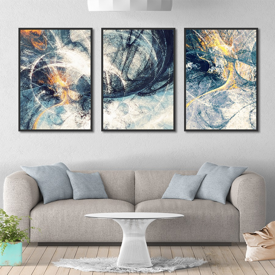 Modern Minimalist Blue and Golden Abstract Art Decorative Painting Living Room Wall Prints Home Decor Framed Canvas Art Picture in Painting Calligraphy from Home Garden