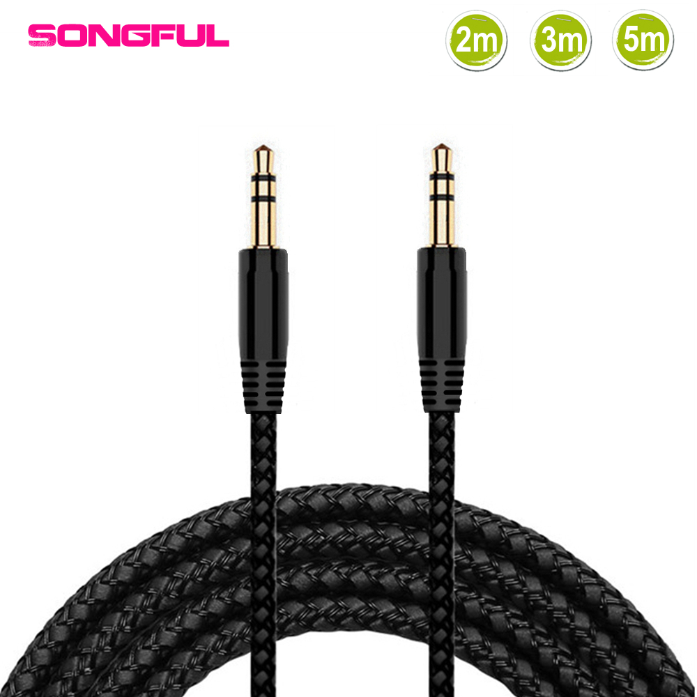 2/3/5 м нейлоновая оплетка Jack 3,5 мм аудио кабель Male 3,5 мм стерео AUX кабель m/M шнур для наушников для iPhone Автомобильный Динамик Наушники MP3/4