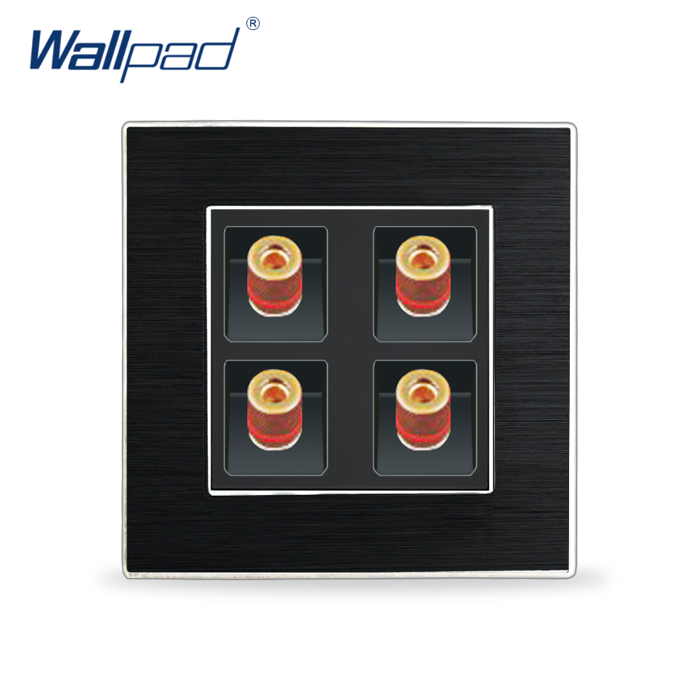 4 Pin Audio Socket Wallpad Luxury Satin Metal Panel Audio Ports Electric Wall Electrical Outlets For Home4 Pin Audio Socket Wallpad Luxury Satin Metal Panel Audio Ports Electric Wall Electrical Outlets For Home