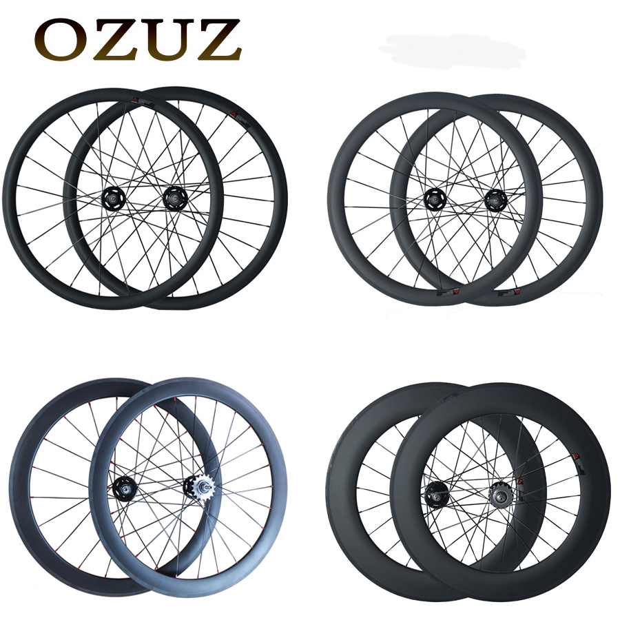 Track Fixed Gear 700C OZUZ 38mm 50mm 60mm 88mm Clincher Tubular Carbon Fiber Carbon Bike Wheels Single Speed Bicycle Wheelset track fixed gear front 38mm rear 50mm depth clincher single speed carbon track wheels road bike bicycle wheel 3k matte or glossy