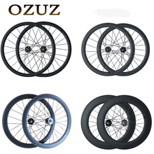 Track Fixed Gear 700C OZUZ 38mm 50mm 60mm 88mm Clincher Tubular Carbon Fiber Carbon Bike Wheels Single Speed Bicycle Wheelset