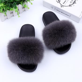 Luksusowy prawdziwy Fox futerka płaskie buty kobiety moda futro sandał buty ręcznie kobiece slajdy kryty kapcie na zewnątrz tanie i dobre opinie SUPPEV STTDIO Dla dorosłych Stałe Nadgarstek Rękawiczki 147888
