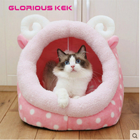 Dog Beds For Small Dogs Cute Cat Bed Washable Pink Animal Shape Puppy House Winter Warm