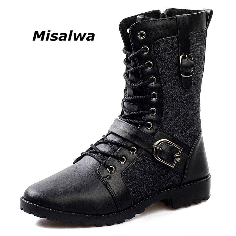 Misalwa Mens Boucle Moto Travail Casual Ingénieur Zipper Mi-mollet Bottes De Courroie Mâle Noir En Cuir Vintage Travail Combat Bottes