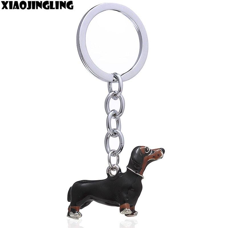 XIAOJINGLING 3D Dog Keychain Car Key Chain Ring Black Enamel Alloy Animal Dachshund Pet Key Chain Key Holder Women Men Gifts