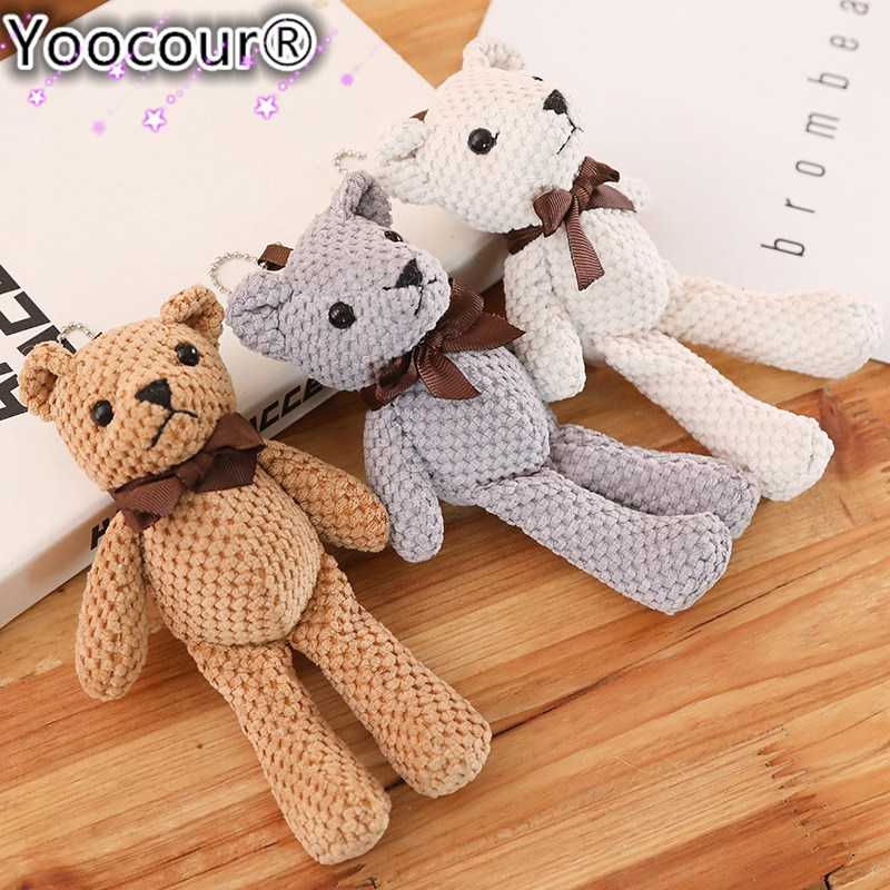 18CM Mini Teddy Bear Stuffed Plush Toys Cute White Teddy Bears Pendant Dolls Gifts Birthday Wedding Party Decor