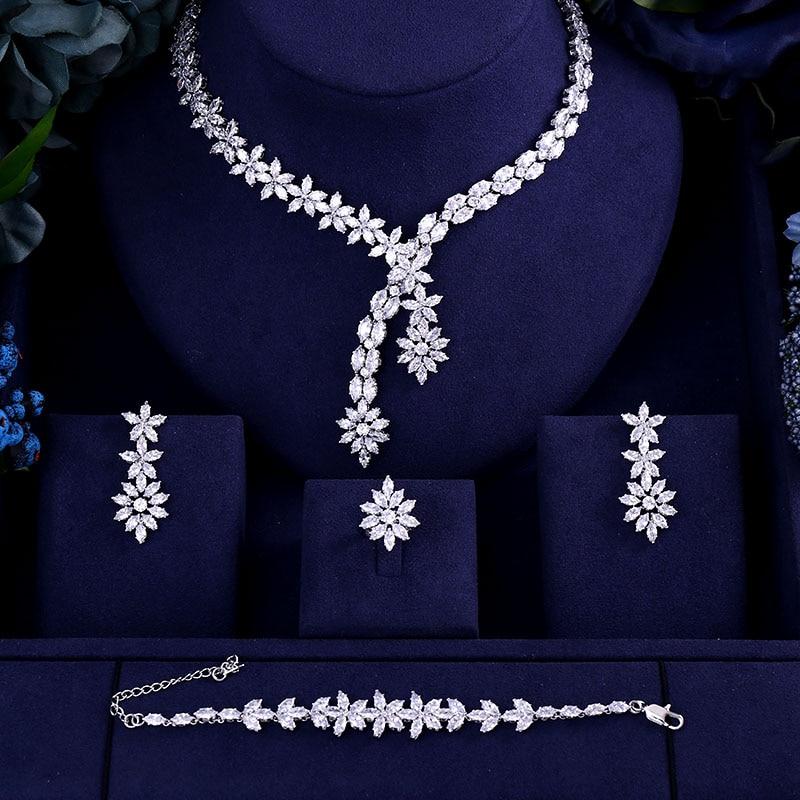 Bracelet Ring Bridal-Jewelry-Set Drop-Earrings Heavy-Necklace Wedding Cubic-Zirconia