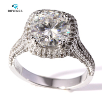 DovEggs 3 Carat F Color Engagement Wedding Moissanite Diamond Ring With Real Diamond Accents Solid 14K 585 White Gold
