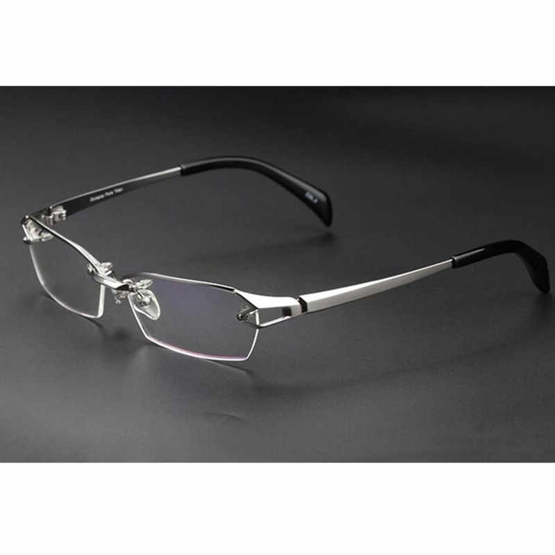 30ae5d633d 100% Luxary Pure Titanium Silver Eyeglass Frames Glasses Spectacles Half  Rimless Rx able