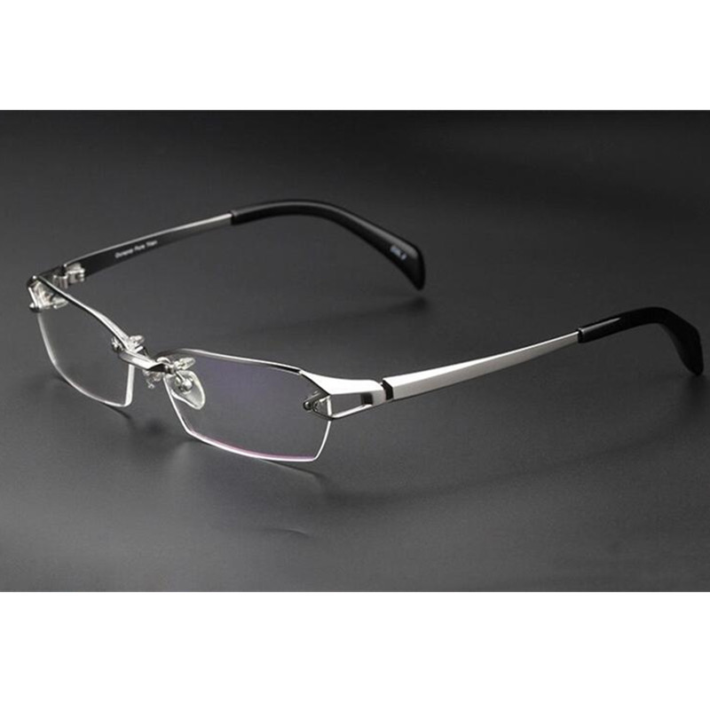 100% Luxary Pure Titanium Silver Eyeglass Frames Glasses Spectacles Half Rimless Rx Able