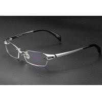 63e06e3155a418 Luxary Pure Titanium Eyeglass Frame Glasses Spectacles Half Rimless Rx Able