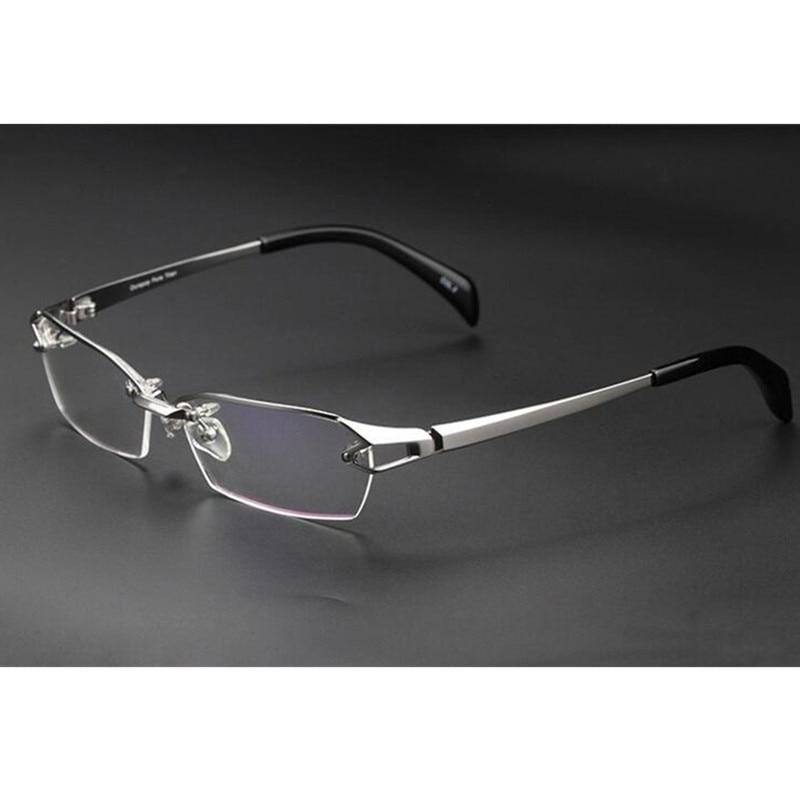 100% Luxary titane pur argent montures de lunettes lunettes lunettes demi sans monture Rx able