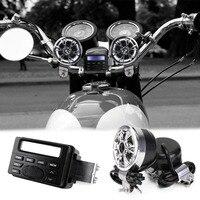 Мотоцикл звук аудио Радио Системы Руль управления для мотоциклов 12 В полный диапазон FM стерео 2 Колонки Квадроцикл с 3.5 мм разъем AUX связать ...
