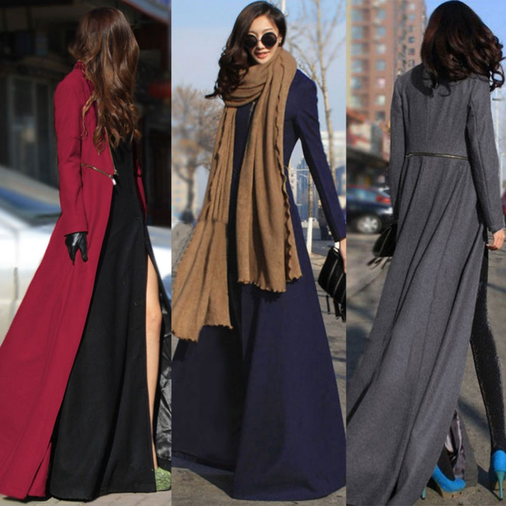 2016 Winter Autumn Fashion factory party club Women Wool Coat Overcoat  Patchwork Warm Long Jacket Manteau - Compare Prices On Womens Long Winter Dress Coats- Online Shopping