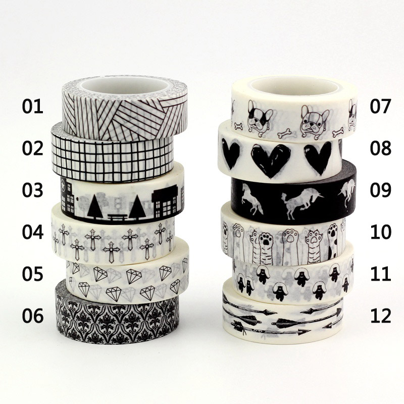 10m Heart Grid Diamond Scale Time Calendar Decor Black White Washi Tape DIY Scrapbooking Masking Tapes School Office Supplies