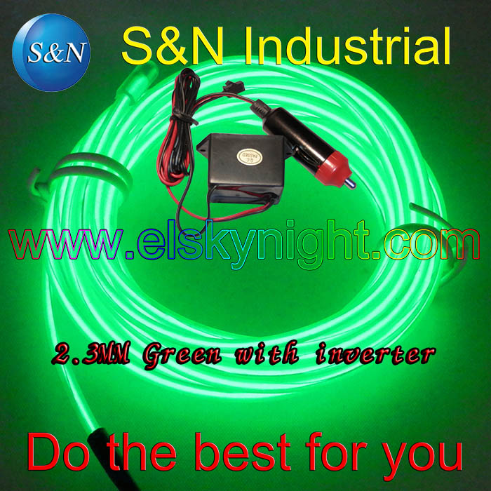 Green 5M 12VDC Neon Light EL Wire Rope Tube With Controller For Car Decorative Light Atmosphere Lamp Interior Modification